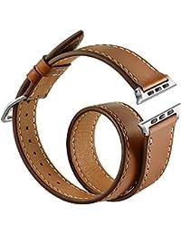 Apple Watch Correa,Sanday Double Tour Correa de cuero de la mejor calidad,Se aplica a Apple Watch Series 3/Series 2/Series 1 38MM Marrón
