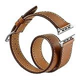 Sanday Bracelet pour AppleWatch Series 3 / 2 / 1,Design Double Bracelet de Remplacement Manchette en Cuir Pour Apple Watch 38mm Brown