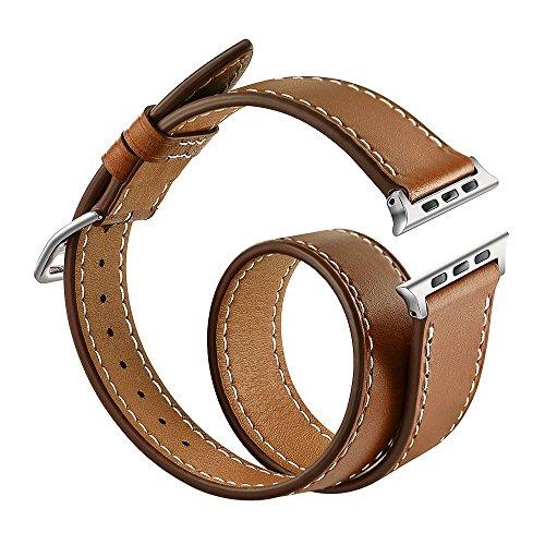 Apple Watch Leather Armband 38mm,Sanday Doppel Premium Echtes Leder Vintage Band Strap Edelstahlschließe für Apple Watch 38mm Series 3 /2 /1 Braun (Bleiben Mode-band)