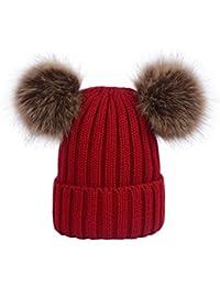 Lau s Cappelli da donna invernali berretto lavorato a maglia con doppio  pompon in pelliccia sintetica rimovibile db0be49a47a8