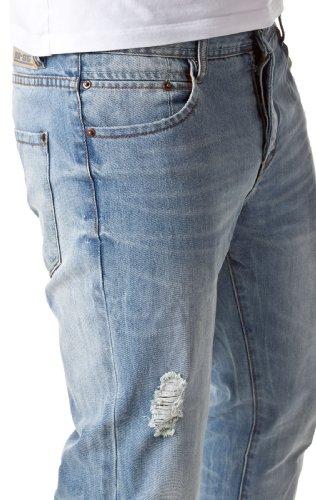 98-86 Herren 5-Pocket Jeans Hose im Vintage Look Destroyed Used Look Light Blue