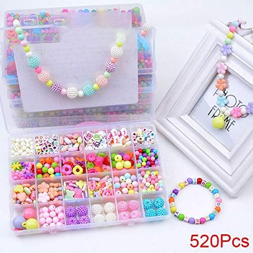 TZX DIY Schmucksachen, die Kit für Kleinkinder 3, 4, 5, 6, 7, 8 Jahre Alt, Kunsthandwerk, Kreativität, Spielzeug für Mädchen-Kind-DIY Perlen Set Haarreif, Halsketten, Armbänder, Ringe zu Machen,10