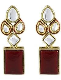 karatcart Cyan Red Modish Kundan Dangle & Drop Earrings For Women