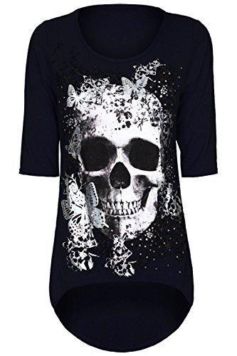 Damen Schädel Schmetterling Aufdruck Dip Asymmetrischer Saum Hoch Niedrig Tunika Top T-shirt Übergröße - Marine, Plus Size (UK 20/22) (Marine-blau-t-shirt Top)