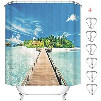 Tende per la Doccia Moderno Impermeabile Anti-Muffa Anti-Batterica Stampa Digitale 3D Tenda da Bagno con 12 Ganci di Plastica 180x180cm MIN-XL Tenda da Doccia Style-1