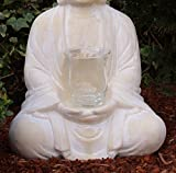 Buddha mit Teelicht Deko Figur 40cm groß betende Thai Skulptur Teelichthalter Buddhafigur sitzend Buddah Statue mit Windlicht - 4