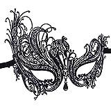 Máscara veneciana con diamante de metal delgado de las mujeres, máscara de encaje sexy de Halloween para la fiesta de disfraces, bodas, carnaval, carnaval veneciano y danza, negro