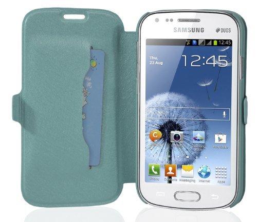 Preisvergleich Produktbild Cadorabo Hülle für Samsung Galaxy GRAND DUOS / GRAND NEO - Hülle in ICY BLAU – Handyhülle mit Standfunktion und Kartenfach im Ultra Slim Design - Case Cover Schutzhülle Etui Tasche Book