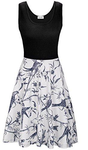 KorMei Damen Ärmelloses Beiläufiges Strandkleid Sommerkleid Tank Kleid Ausgestelltes Trägerkleid Weiß XL