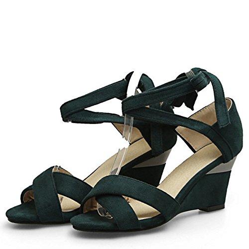 COOLCEPT Femmes Simple Lacets Peep Toe Compenses Sandales Vert