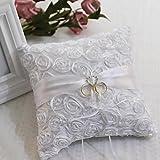 bpblgf Ringkissen für Hochzeit Ringkissen mit Platz Rose RingkissenHochzeit Braut, White, 20 * 20cm