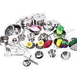 bennyuesdfd Kochgeschirr Kinder Zubehör Kinderküche Edelstahl Kochutensilien Töpfe Pfannen Küche Spielzeug für Kinder Weinachten Geschenk