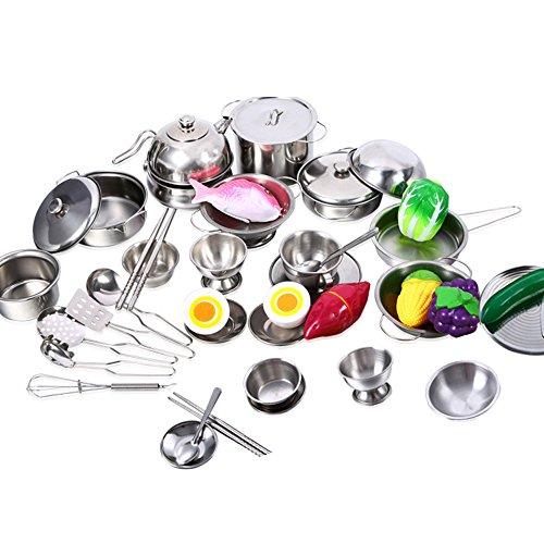 hirr Kinder Zubehör Kinderküche Edelstahl Kochutensilien Töpfe Pfannen Küche Spielzeug für Kinder Weinachten Geschenk ()