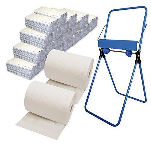 2x Putzrollen-Set Eco (2-lagig, weiß) inkl. Halterung Bodenständer, 20x Papiertücher á 150 Blatt