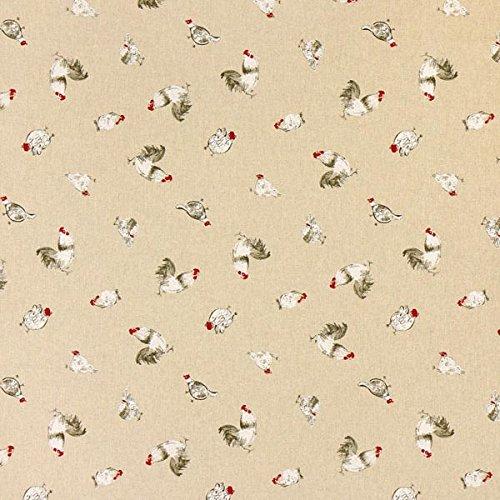 Fabulous Fabrics Dekostoff Natur - Huhn - Meterware ab 0,5m - zum Nähen von Kissen, Tischdecken und Taschen