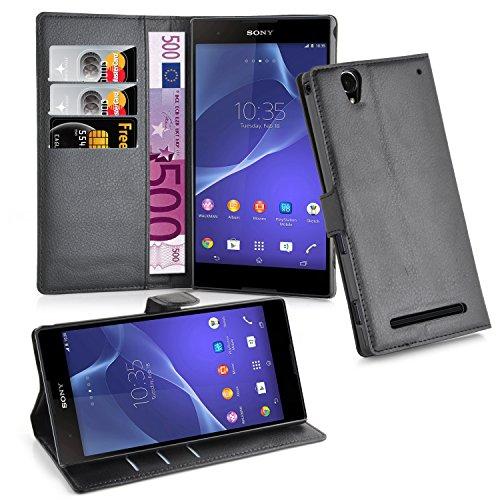 Cadorabo Hülle für Sony Xperia T2 Hülle in Phantom schwarz Handyhülle mit 3 Kartenfächern Case Cover Schutzhülle Etui Tasche Book Klapp Style Phantom-Schwarz