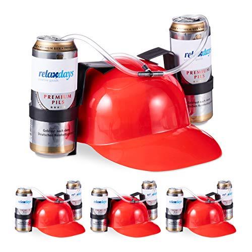 Kostüm Dosen Bier - Relaxdays 4 x Party Trinkhelm, Helm mit Schlauch, für 2 Dosen Bier, Spaßartikel Fasching u. Fußball, lustiger Bierhelm, rot