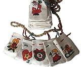 Adventskalender Jutesäckchen weiss mit Weihnachtsmotiven - Girlande zum Befüllen
