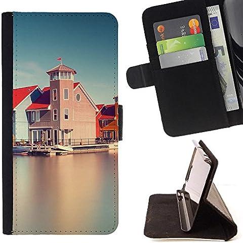 Momo teléfono móvil/funda de piel cubierta de la caja con ranuras para tarjetas–Edificio de agua Opiniones–Samsung Galaxy Note