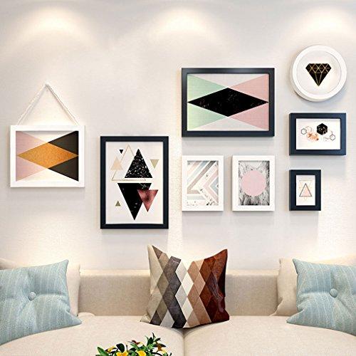 GJIF Fotorahmen-Wand-Galerie-Kit enthält: Kunst-Malerei-Kern, hängenden Wand-Schablone, Rahmen (Farbe : Black+White)