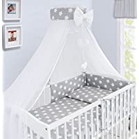 Luxury 10Pcs Baby Bedding Set COT Bed Pillow Duvet Cover Bumper Canopy to Fit Cot Bed Size 140x70cm 100% Cotton (Big White Stars on Grey Background)