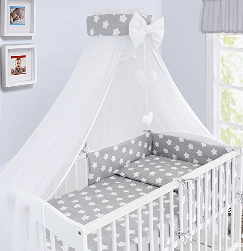 3 pcs Set TupTam Baby Cot Bedding Set with All Around Bumper 3 pcs Baby Animals Gray//Blue