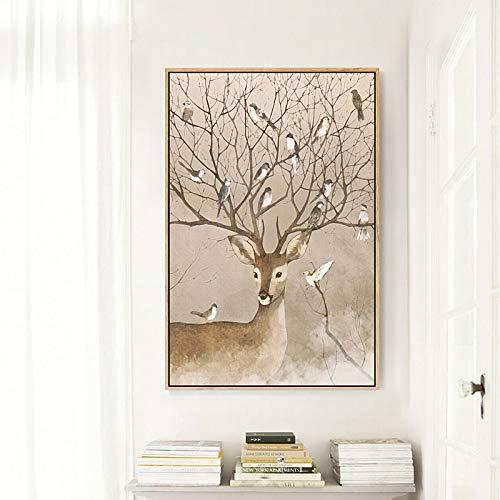 SMAQZ Nordic Pintura Decorativa Dormitorio Elk Triple Pintura Colgante Pintura Porche Mural...