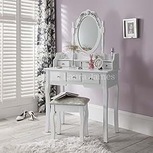 Capri agtc0010 chaise pour coiffeuse blanc meuble miroir for Chaise pour chambre a coucher