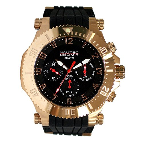 Nautec No Limit men's Quartz Watch Analogue Display and Rubber Strap STKG-QZ-RBRGRG-BK