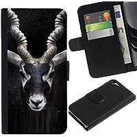 Paccase / Portafoglio del Cuoio di vibrazione del Titolare della carta Custodia per - impala horns black nature minimalist - Apple Iphone 5 / 5S - Impala Horn
