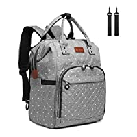 Kono Baby Changing Backpack Bag Multi-Function Large Capacity Waterproof Travel Diaper Rucksack Nappy Back Pack with 2 Stroller Straps (Dots Grey)