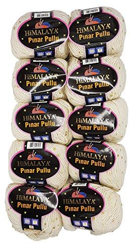 Pinar Pullu 10 x 50g Strickwolle einfarbig mit Pailletten, 500 Gramm Paillettengarn, Paillettenwolle 31% Wolle-Anteil (Creme 61002) - Himalaya-garn
