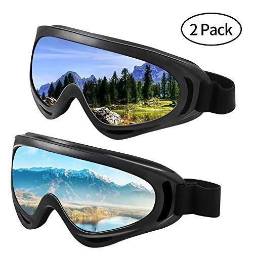 Hootracker Skibrille, Snowboard-Schutzbrillen, Polarisiertes Motorrad Brille Ski-Schutzbrillen, UV 400 Schutz Winddicht, Staubdicht, Anti-Beschlag, für Damen und Herren, Farbige/Graue, 2 Paare