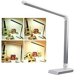 10W Lampada da Tavolo Dimmable Desk Lamp LED Bianco Caldo/Bianco Protegge Tuoi Occhi Argento[Classe energetica A +]