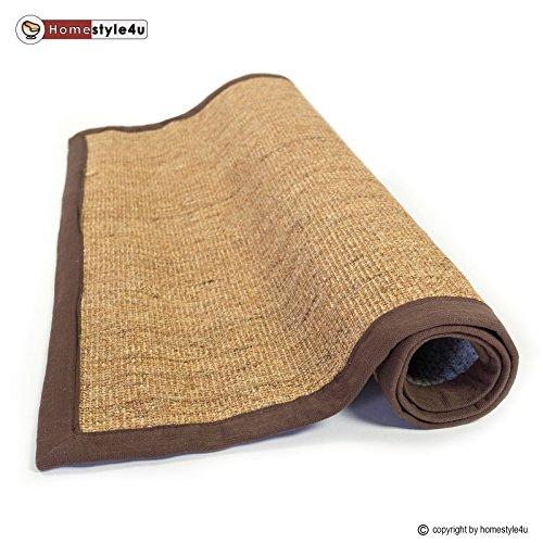 Homestyle4u Sisal Teppich Bordürenteppich Teppich Sisalteppich Naturfaser braun 80 x 300 cm