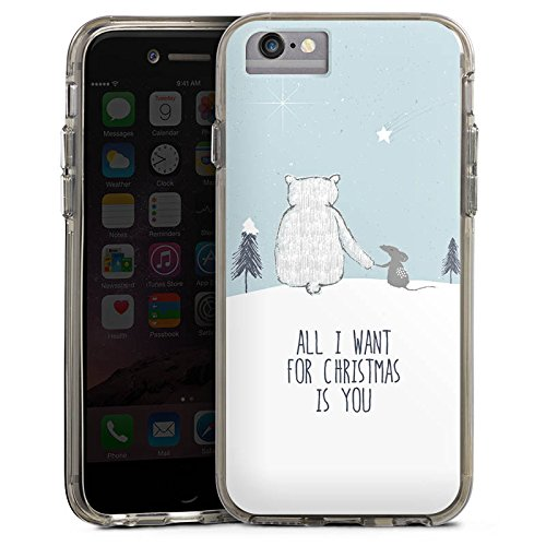 Apple iPhone 7 Bumper Hülle Bumper Case Glitzer Hülle Christmas Weihnachten Friendship Bumper Case transparent grau