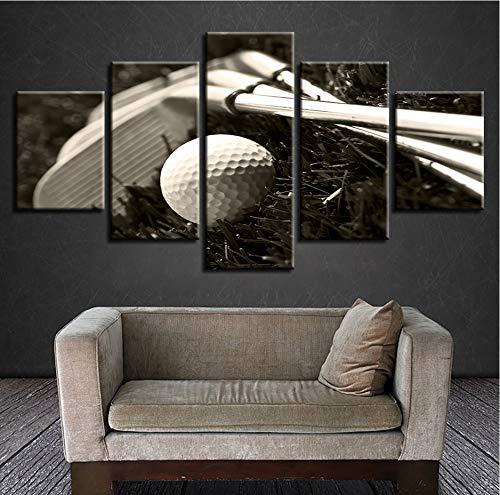 (Wiwhy Hd GedrucktPoster Modulare 5 Stücke Golf Club Und Golf Ball Leinwand Bilder Wanddekor Schlafzimmer Schwarzweiß Kunst Malerei-20Cmx35/45/55Cm,With Framewiwhy)