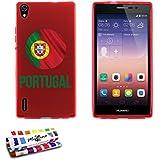 Originale Schutzschale von MUZZANO : Rot, ultradünn und flexibel, mit Fußball Portugal-Muster für HUAWEI ASCEND P7 DUAL SIM