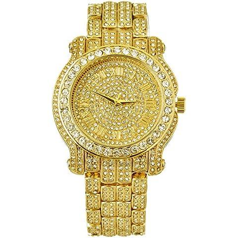 Para hombre lujo de Hip Hop Iced Out Techno Pave Reloj Oro Tono Bisel pesados Funda banda diamante de imitación 7341GG