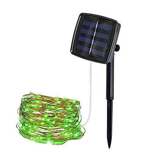 Solar LED Lichterkette 10M 100LED Draussen Solar Angetrieben Kupfer Draht Licht für Weihnachten Fee Party Dekor (Grün, ()