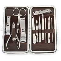 TOOGOO - Set De 12 piezas cortauñas de acero inoxidable para Manicura - Caja Cuero PU