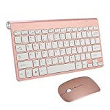 Tastiere e Mouse Wireless,SUAVER Tastiere ultra slim compatte Set tastiera e Mouse senza fili 2.4G,Ottico Mouse(DPI 800/1200/1600) per PC Laptop Windows Mac (Oro rosa)