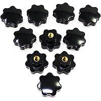 Hseamall 10PCS M8 Rosca Hembra Perilla de Sujeción Plástico Negro Forma de Estrella Perilla Perilla de la Mano Perilla para Máquina Herramienta
