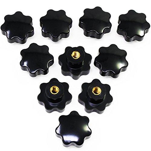 HSeaMall 10 STÜCKE Schwarz Kunststoff Stern Form Kopf M8 Innengewinde Klemmknopf Form Knob Griff Hand Knob Griff für Werkzeugmaschine (M8 Weibliche Sternform Kopf knopf)
