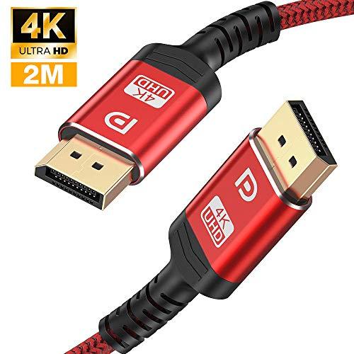 4K DisplayPort Kabel 2M - DisplayPort auf DisplayPort Kabel(4K@60Hz,2K@165Hz, 2K@144Hz) Nylon Geflecht DP zu DP Kabel Ultra High Speed Display Port Kabel unterstützt Laptop PC,TV etc (Rot)