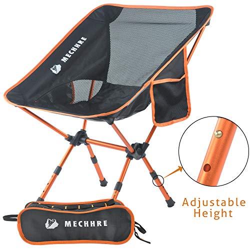 MECHHRE Klappbarer Campingstuhl mit Tragetasche - kompakter, ultraleichter Faltbarer Strandstuhl - Verstellbarer Höhe Tragbarer hoch belastbarer Outdoor Stuhl für Rucksackreisen, Wandern, Camping