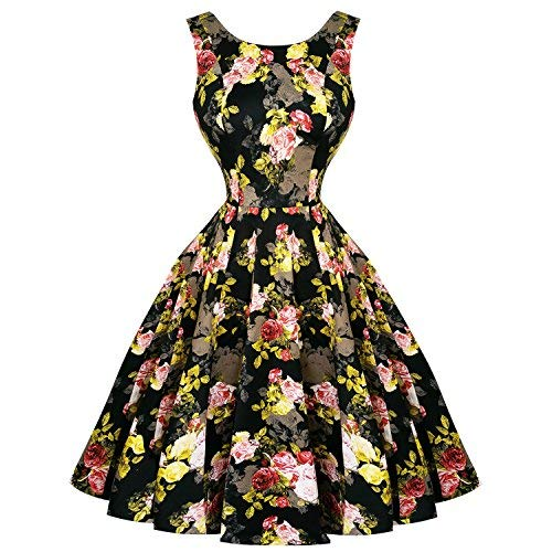 053b4e45180bd Hearts and Roses London Black Yellow Cameo Floral 1950s Retro Vintage Dress  10