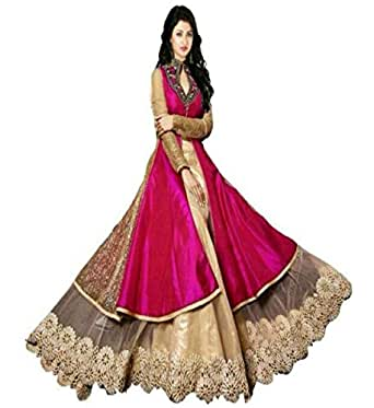 Muta Fashion For Women Pink Skirt Top Indowestern Gown (Gown161_Pink)