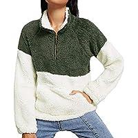 Longra Jersey de Mujer, Jersey de Mujer otoño con Cremallera Jersey de Cuello Alto, Polar Jersey Manga Larga Sudadera Gruesa Chaqueta Caliente para Mujer