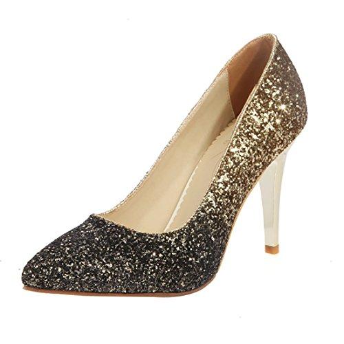 YE Damen Glitzer High Heels Spitze Pumps mit Pailletten 10cm Absatz Braut Hochzeit Schuhe Gold